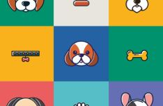 12 Dog Icons Vector