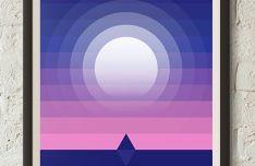 Wall Moonlight Poster Vector