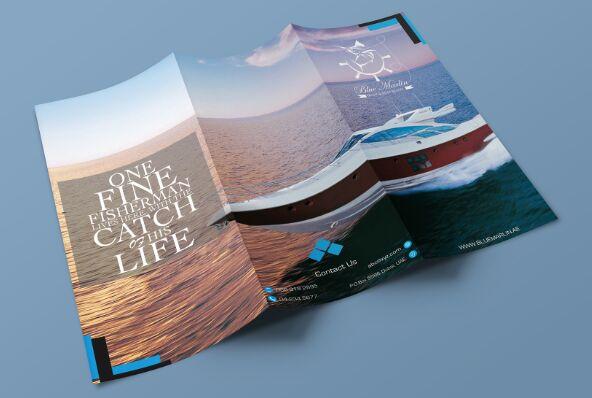 Realistic Tri-Fold Corporate Brochure Mockup PSD