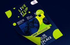 Live It Up Party Flyer Mockup PSD