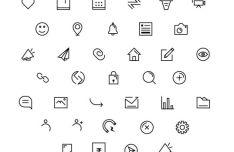36 Web App Line Icons Vector