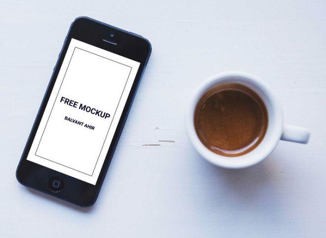 iPhone & Coffee PSD Mockup