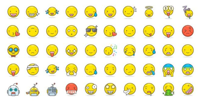 100 Pretty Lovely Emojis Vector