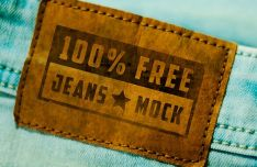 Realistic Jeans Tag PSD Mock-up