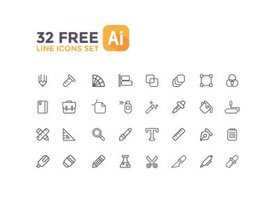 32 Line Icons For Web Graphic Design Vector