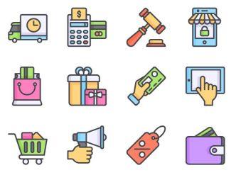 12 Flat E-commerce Vector Icons