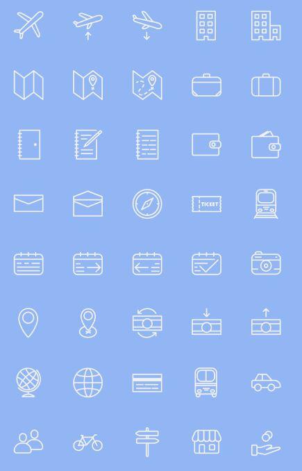 40 Travel Line Icons PSD