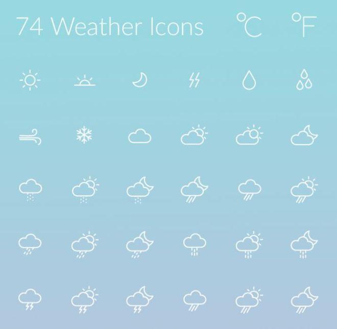 74 Weather Line Icons (AI+PSD)