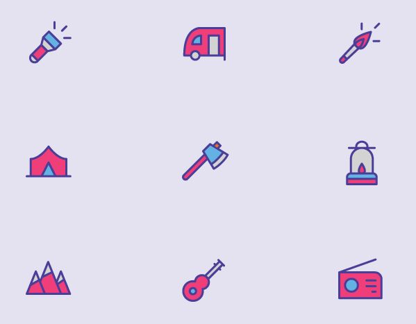 9 Colored Camping Icons Vector