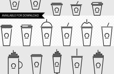 Coffee Cup Icon Set (PNG+SVG)