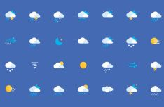 36 Flat Weather Icons (AI+PSD)