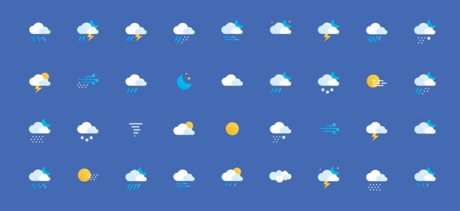 36 Flat Weather Icons (AI+PSD)