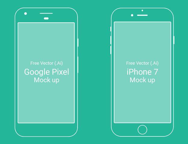 Google Pixel & iPhone 7 Vector Mock-ups