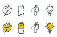 Minimal Electricity Icons Vector