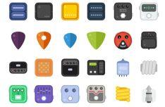 Flat Guitar Stuff Icons Vector
