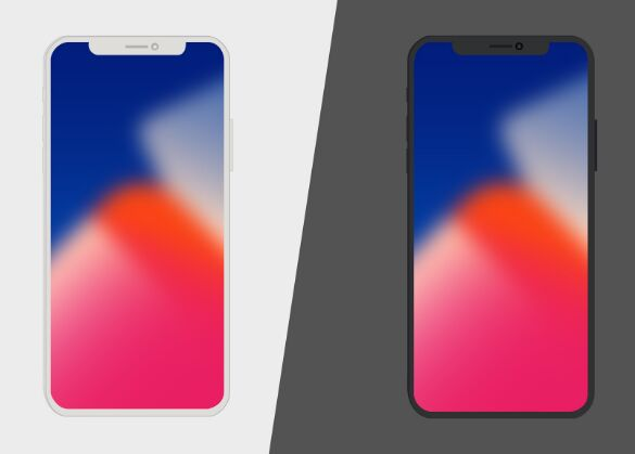 Flat Vector Shaped iPhone X Mockup (AI+PSD)
