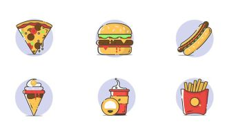 6 Fast Food Icons Vector