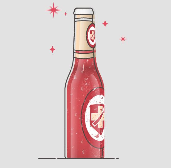 Flat Liqueur Bottle Vector Illustration