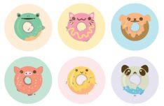6 Cute Animal Donut Icons Vector