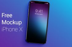 Realistic iPhone X With Blurred Background Mockup