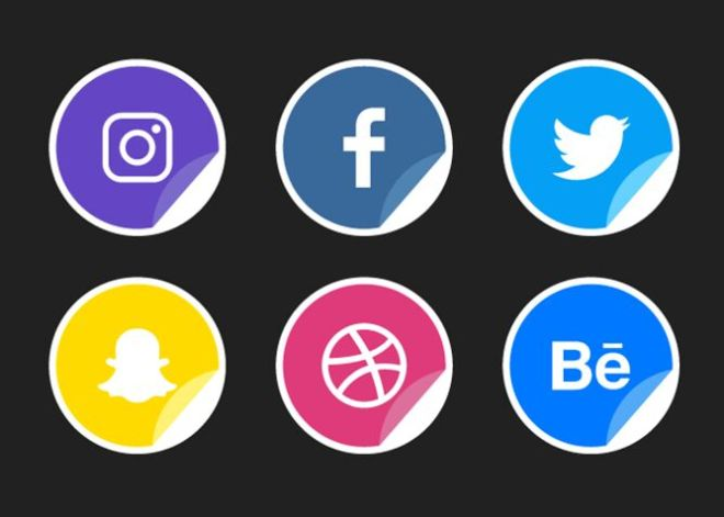 6 Sticker-style Social Icons Vector