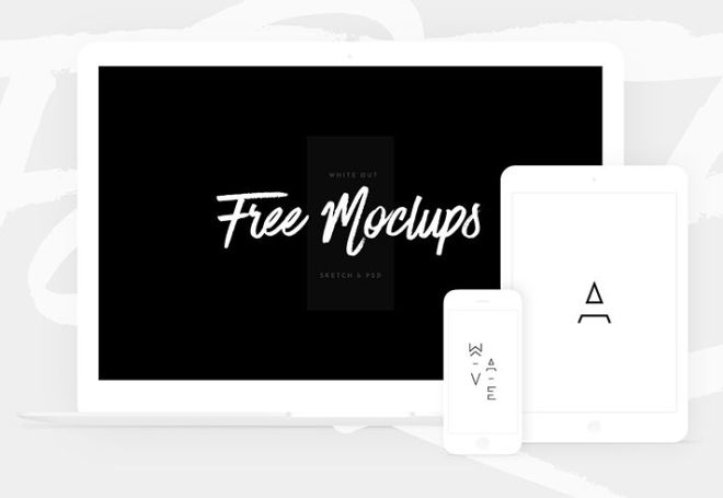 Flat White Apple Devices Mockup PSD