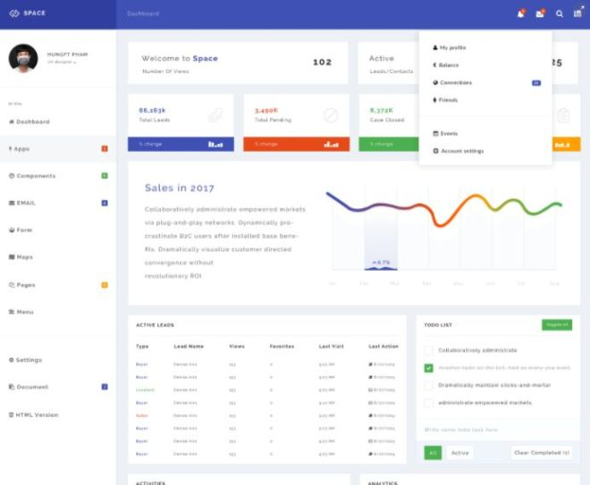 Minimal Perspective Dashboard PSD Template