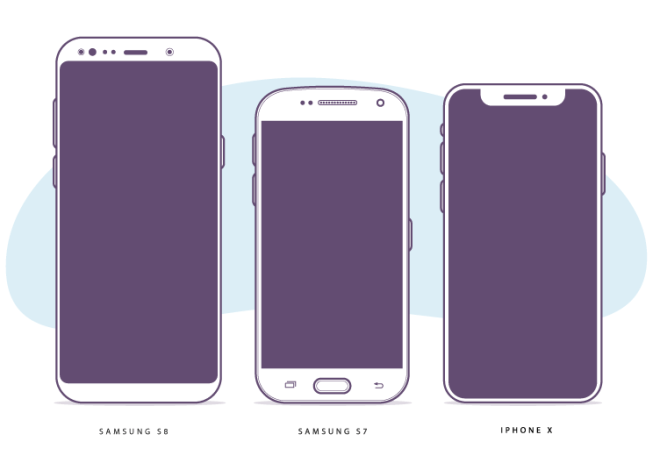 Flat Galaxy S8, S7 And iPhone X Vector Illustration