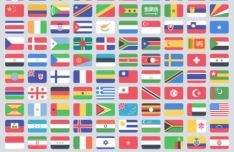 227 Flat National and Regional Flags Vector