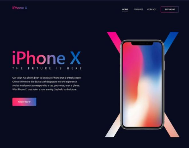 Fashion iPhone X Landing Page PSD Template