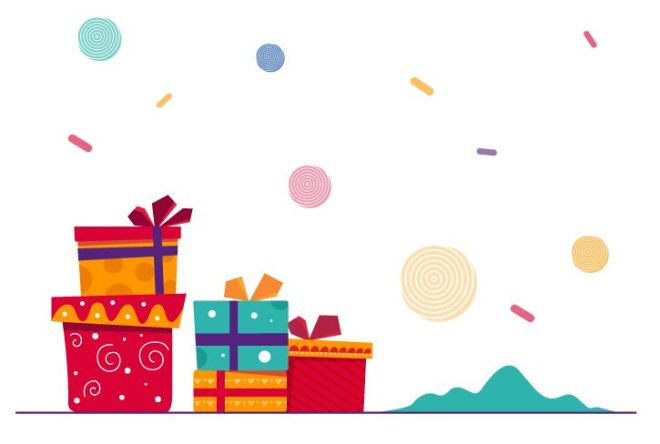 Cute Christmas Gifts Vector