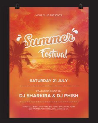 Summer Festival Flyer PSD Template