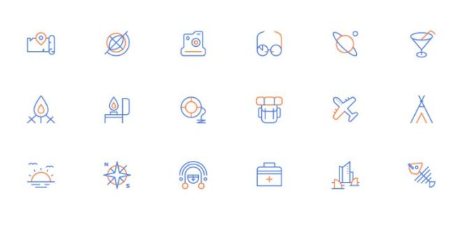 18 Creative Travel Line Icons Vector