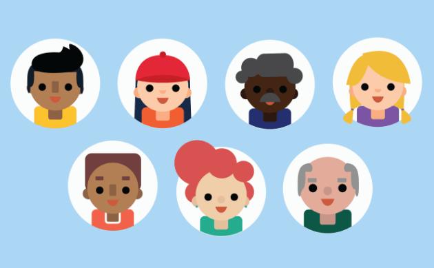 7 Flat Circular Avatar Icons Vector