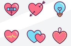6 Cute love Heart Icons (SVG+Sketch)