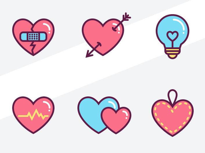 Cute Love Heart Wallpaper: Free 6 Cute Love Heart Icons (SVG+Sketch)