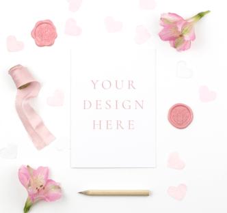 Minimal Valentine's Day Card PSD Mockup