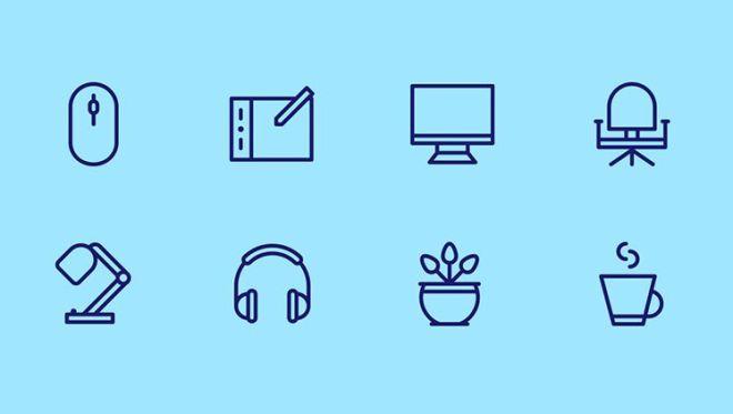 Designer Equipment Icon Set Vector