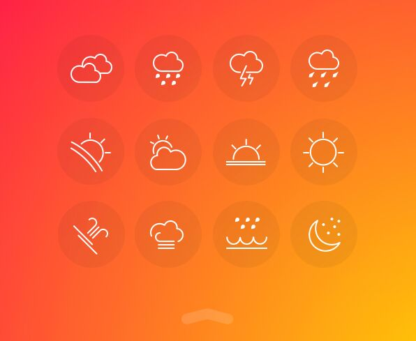 12 Minimal Weather Line Icons PSD