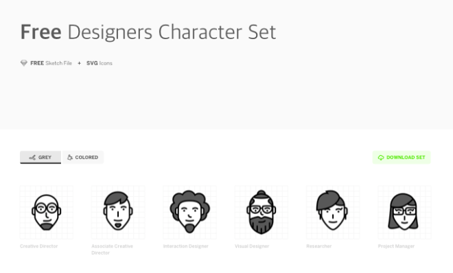 6 Designer Character Vector Icons