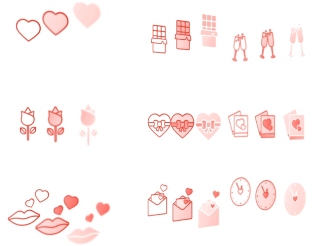 9 St.Valentines Day Icons For Sketch
