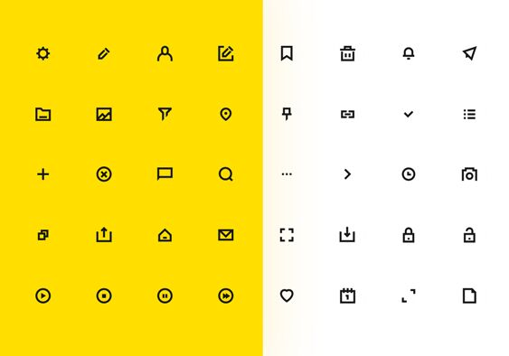 40 Minimal UI Icons For Sketch