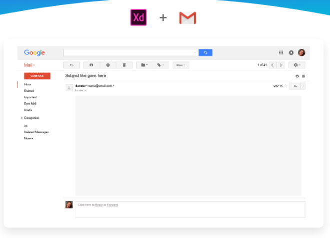 Gmail UI Kit For Adobe XD