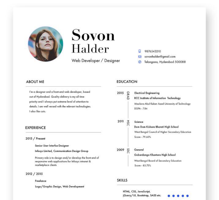 Free Minimal Designer Resume / CV Template - TitanUI