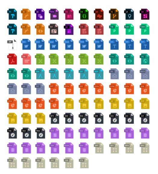 100+ Flat File Type Icons Sketch