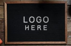 Realistic Chalkboard Logo Mockup