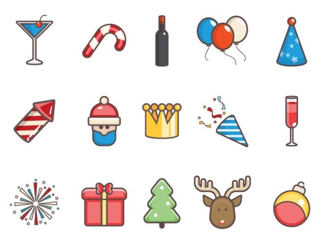 15 Simple Flat Christmas Vector Icons