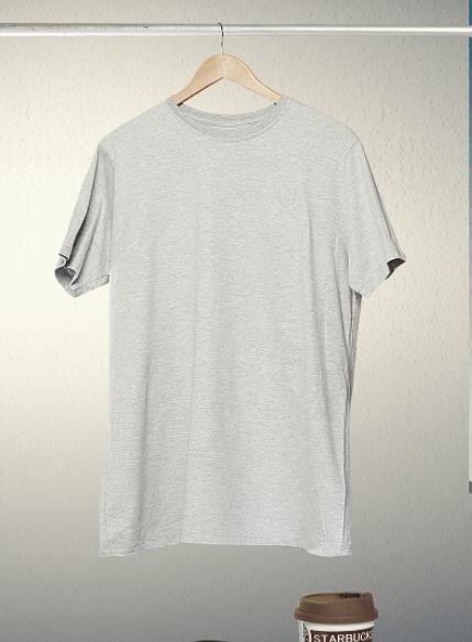 Grey Hanging T-shirt PSD Mockup