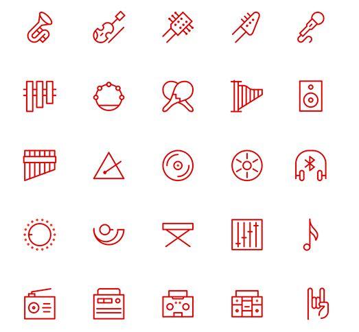 20 Minimal Music Line Icons Vector