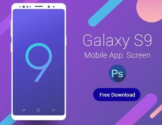 Samsung Galaxy S9 App Screen Template PSD